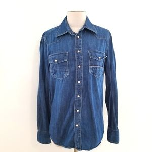 Care Label 100% Cotton Red Cast Denim Blue Shirt
